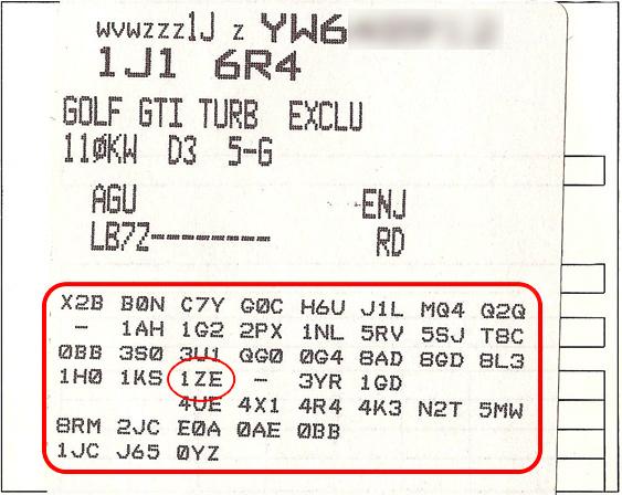 Kody wyposażenia pojazdów grupy VAG